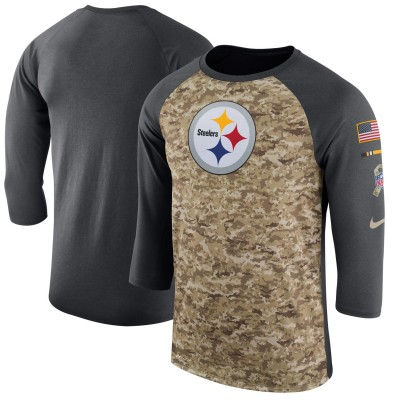 Nike Pittsburgh Steelers Camo Anthracite Salute to Service Sideline Legend Performance Three-Quarter Sleeve Men T-Shirt