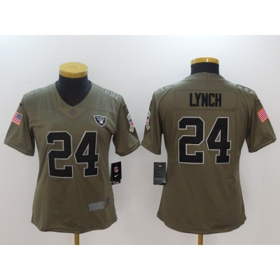 Nike Raiders 24 Marshawn Lynch Olive 2017 Salute To Service Limited Women Jersey