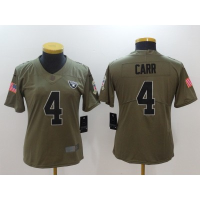 Nike Raiders 4 Derek Carr Olive 2017 Salute To Service Limited Women Jersey