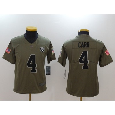 Nike Raiders 4 Derek Carr Olive 2017 Salute To Service Limited Youth Jersey