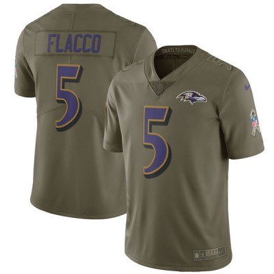 Nike Ravens 5 Joe Flacco Olive 2017 Salute To Service Limited Youth Jersey