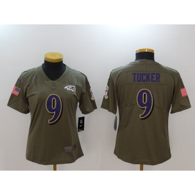 Nike Ravens 9 Justin Tucker Olive 2017 Salute To Service Limited Women Jersey