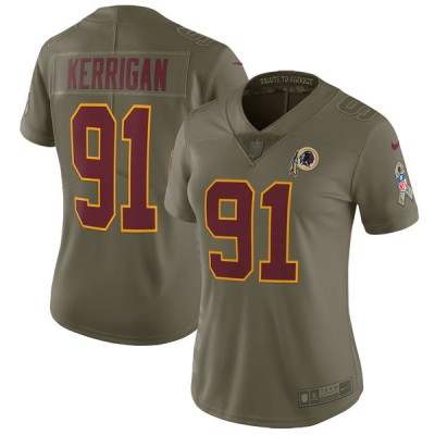 Nike Redskins 91 Ryan Kerrigan Olive 2017 Salute To Service Limited Women Jersey