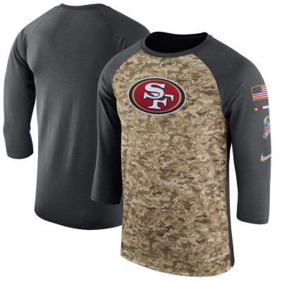 Nike San Francisco 49ers Camo Anthracite Salute to Service Sideline Legend Performance Three-Quarter Sleeve Men T-Shirt