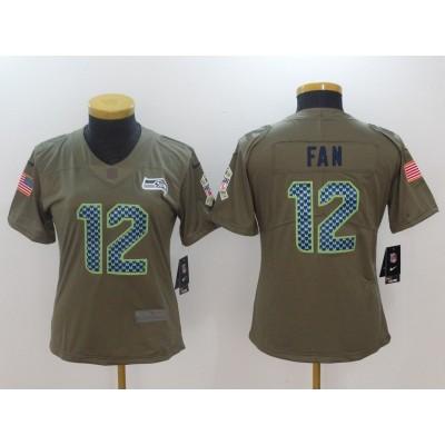 Nike Seahawks 12 Fan Olive 2017 Salute To Service Limited Women Jersey