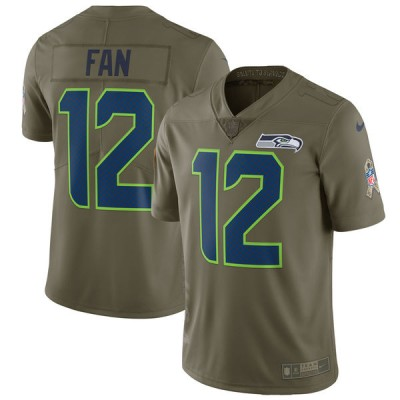 Nike Seahawks 12 Fan Olive 2017 Salute To Service Limited Youth Jersey