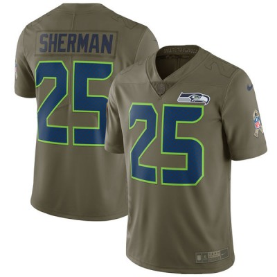 Nike Seahawks 25 Richard Sherman Olive 2017 Salute To Service Limited Youth Jersey
