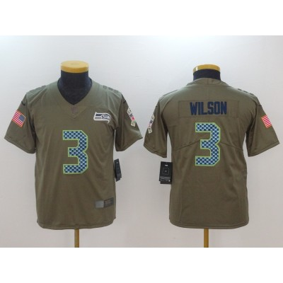 Nike Seahawks 3 Russell Wilson Olive 2017 Salute To Service Limited Youth Jersey