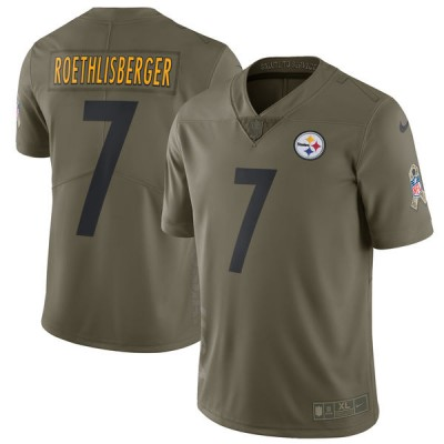 Nike Steelers 7 Ben Roethlisberger Olive 2017 Salute To Service Limited Youth Jersey