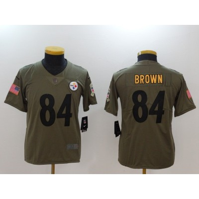Nike Steelers 84 Antonio Brown Olive 2017 Salute To Service Limited Youth Jersey