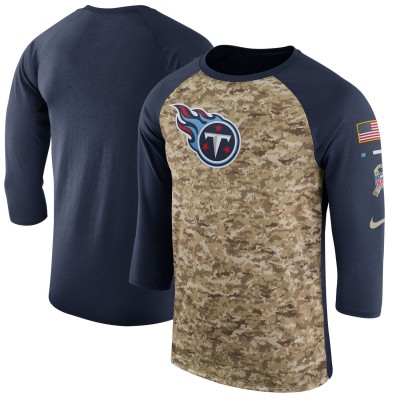 Nike Tennessee Titans Camo Navy Salute to Service Sideline Legend Performance Three-Quarter Sleeve Men T-Shirt