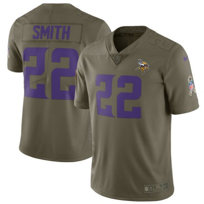 Nike Vikings 22 Harrison Smith Olive 2017 Salute To Service Limited Youth Jersey