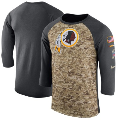 Nike Washington Redskins Camo Anthracite Salute to Service Sideline Legend Performance Three-Quarter Sleeve Men T-Shirt