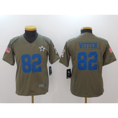 Nike Cowboys 82 Jason Witten Olive 2017 Salute To Service Limited Youth Jersey