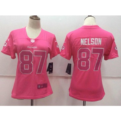 Nike Green Bay Packers 87 Jordy Nelson Pink Stitched NFL Limited Rush Fashion Women Jersey