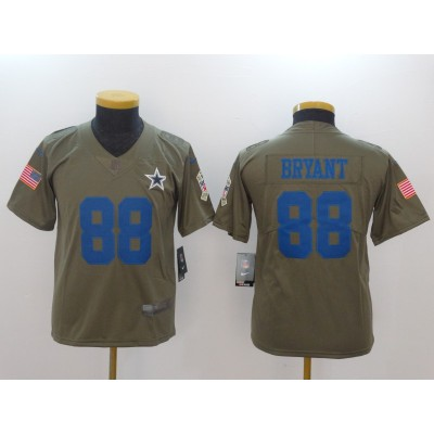 Nike Cowboys 88 Dez Bryant Olive 2017 Salute To Service Limited Youth Jersey
