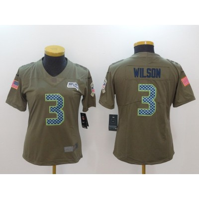 Nike Seahawks 3 Russell Wilson Olive 2017 Salute To Service Limited Women Jersey