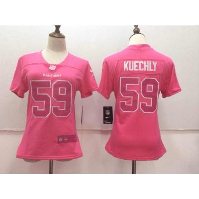 Nike Panthers 59 Luke Kuechly Pink Stitched NFL Limited Rush Fashion Women Jersey