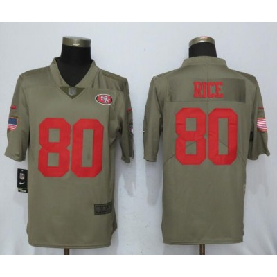 Nike 49ers 80 Jerry Rice Olive 2017 Salute To Service Limited Men Jersey