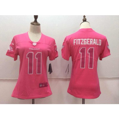 Nike Arizona Cardinals 11 Larry Fitzgerald Pink Stitched NFL Limited Rush Fashion Women Jersey