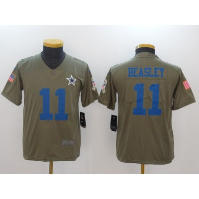 Nike Cowboys 11 Cole Beasley Olive 2017 Salute To Service Limited Youth Jersey