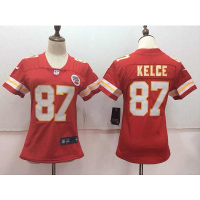 Nike Kansas City Chiefs 87 Travis Kelce Red Vapor Untouchable Limited Women Jersey