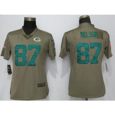 Nike Packers 87 Jordy Nelson Olive 2017 Salute To Service Limited Women Jersey