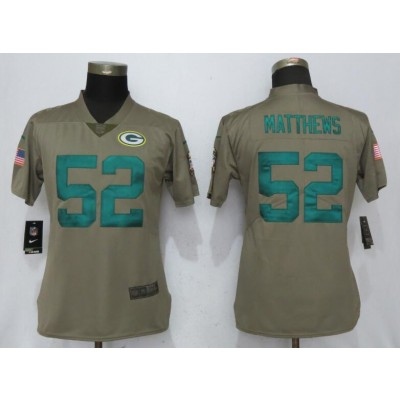 Nike Packers 52 Clay Matthews Olive 2017 Salute To Service Limited Women Jersey
