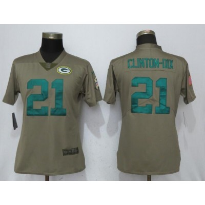 Nike Packers 21 Haha Clinton-Dix Olive 2017 Salute To Service Limited Women Jersey