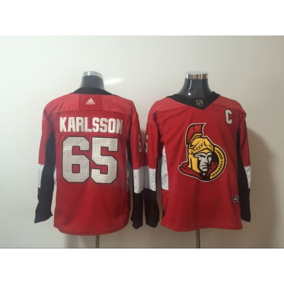 NHL Senators 65 Erik Karlsson Red Adidas Men Jersey