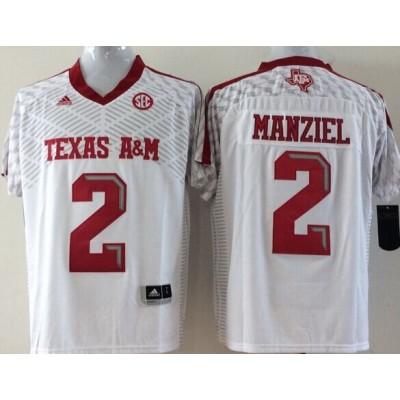 NCAA Texas A&M Aggies 2 Johnny Manziel White Football Adidas Men Jersey