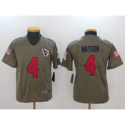 Nike Texans 4 Deshaun Watson Olive 2017 Salute To Service Limited Youth Jersey