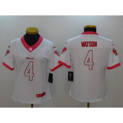Nike NFL Texans 4 Deshaun Watson White Pink Women Jersey
