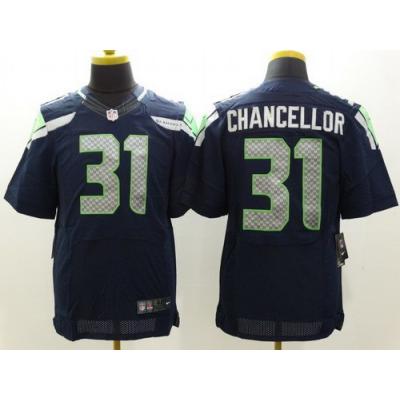 Nike NFL Seahawks 31 Kam Chancellor Steel Blue Elite Men Jersey