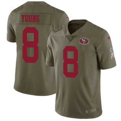 Nike 49ers 8 Steve Young Olive Salute To Service Limited Jersey
