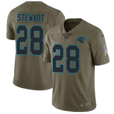Nike Panthers 28 Jonathan Stewart Olive Salute To Service Limited Jersey