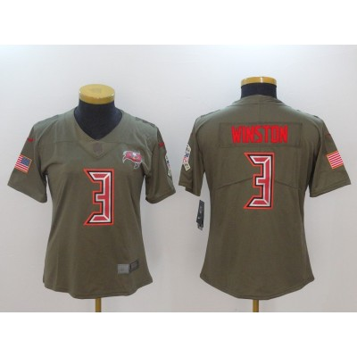 Nike Buccaneers 3 Jameis Winston Olive 2017 Salute To Service Limited Women Jersey