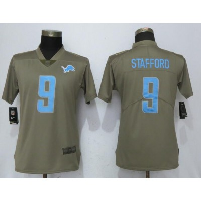 Nike Lions 9 Matthew Stafford Olive 2017 Salute To Service Limited Women Jersey