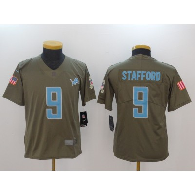 Nike Lions 9 Matthew Stafford Olive 2017 Salute To Service Limited Youth Jersey