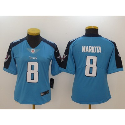 NikeTennessee Titans 8 Marcus Mariota Light Blue Vapor Untouchable Limited Women Jersey