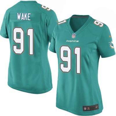 NFL Dolphins 91 Cameron Wake Aqua Nike Women Jersey
