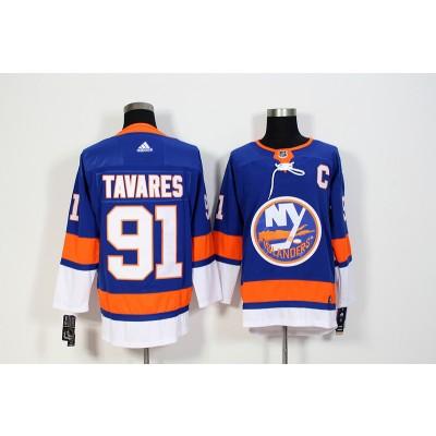 NHL Islanders 91 John Tavares Blue Adidas Men Jersey