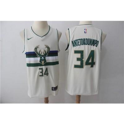 NBA Bucks 34 Giannis Antetokounmpo Cream City Edition Nike Men Jersey