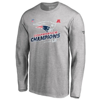 NFL Patriots Heather Gray 2017 AFC Champions Long Sleeve Men T-Shirt