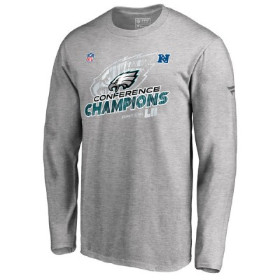 NFL Eagles Heather Gray 2017 NFC Champions Long Sleeve Men T-Shirt