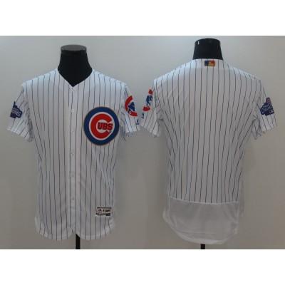Cubs White World Series Champions Gold Program Flexbase Custom Jersey