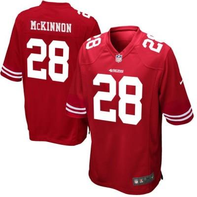 NFL 49ers 28 Jerick McKinnon Scarlet Nike Elite Men Jersey