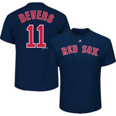 Boston Red Sox 11 Rafael Devers Navy Name & Number T-Shirt