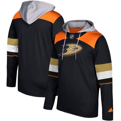 NHL Anaheim Ducks Black Silver Adidas Pullover Men Hoodie
