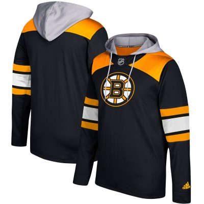 NHL Boston Bruins Black Silver Adidas Pullover Men Hoodie